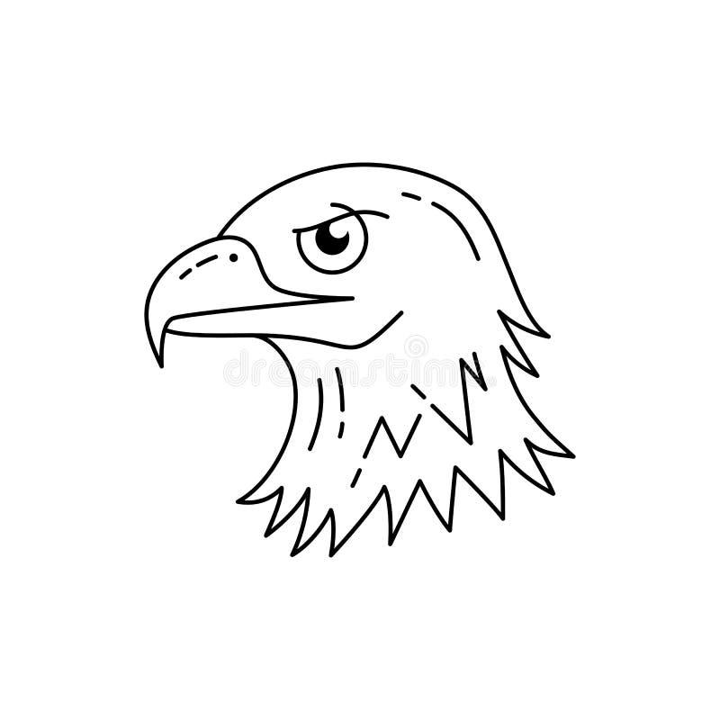 Ícone da cabeça de Eagle Linha ícone da águia da arte Águia dos EUA A linha projeto da arte, Vector a ilustração lisa ilustração stock