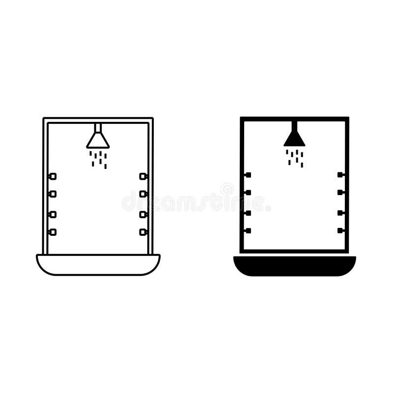 Ícone da cabine do chuveiro Banheiro e sauna ilustração royalty free