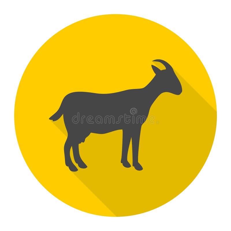 Ícone da cabra com sombra longa ilustração do vetor