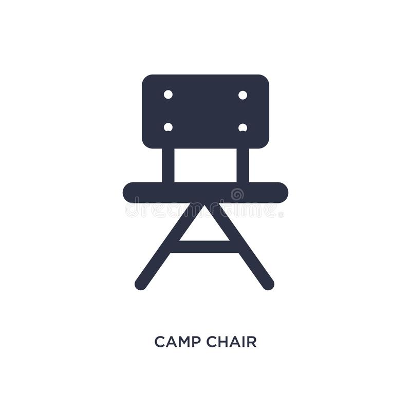 ícone da cadeira de acampamento no fundo branco Ilustração simples do elemento do conceito de acampamento ilustração do vetor