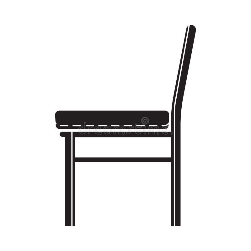 Ícone da cadeira do preto liso ilustração stock