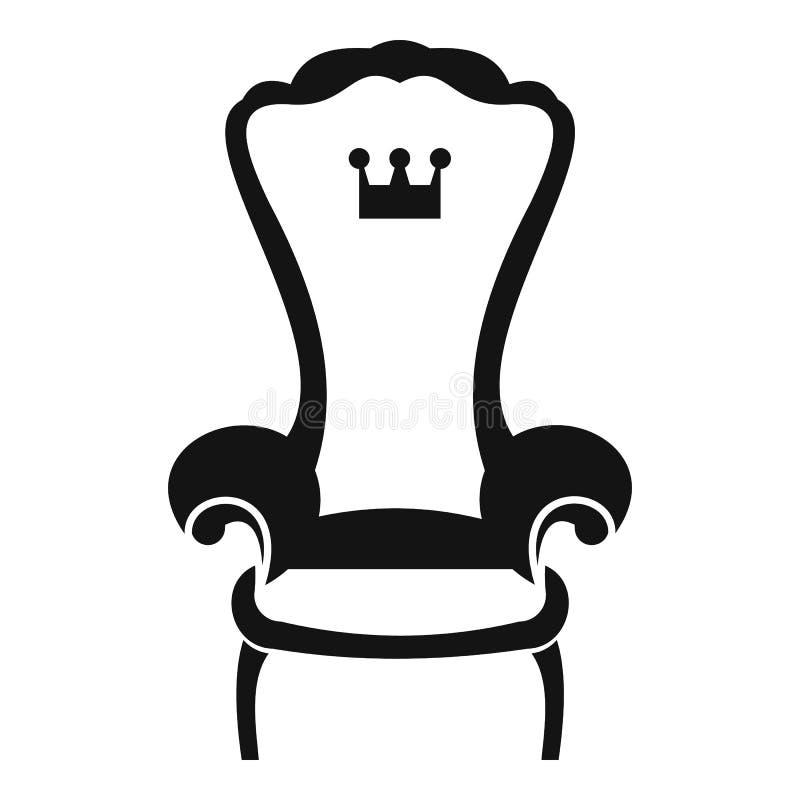 Ícone da cadeira do trono do rei, estilo simples ilustração stock