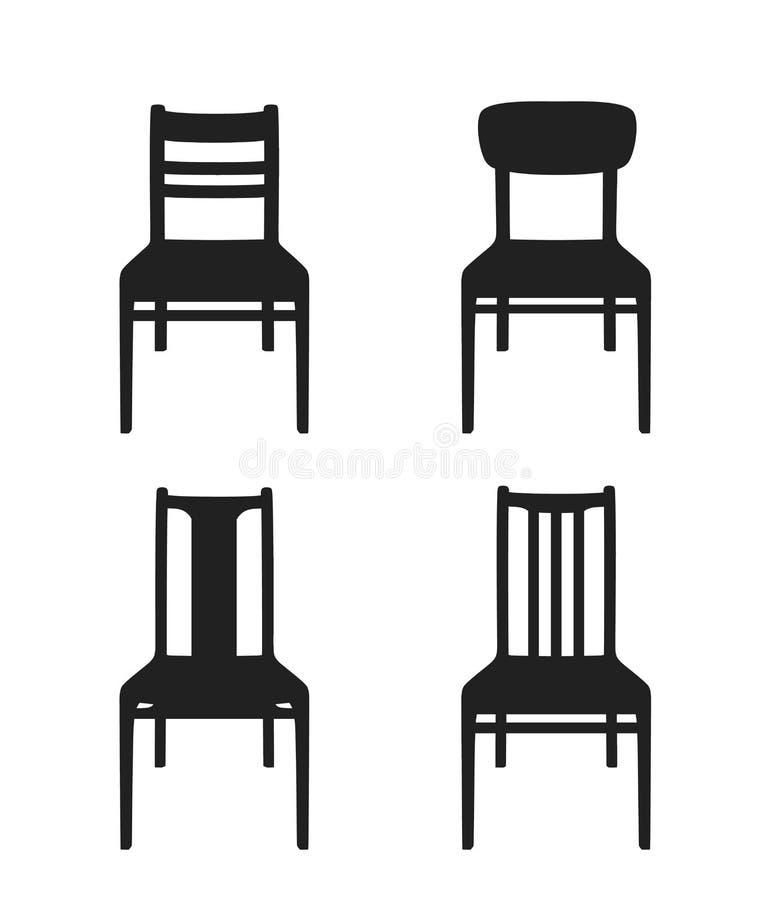 Ícone da cadeira Grupo de ícones do vetor de cadeiras diferentes ilustração stock