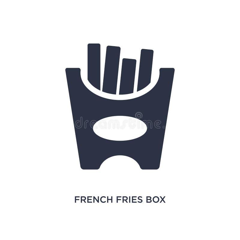 ícone da caixa das batatas fritas no fundo branco Ilustração simples do elemento do conceito dos restaurantes e do restaurante ilustração do vetor