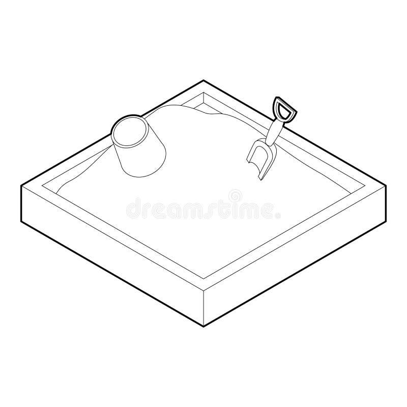 Ícone da caixa de areia no estilo do esboço ilustração do vetor