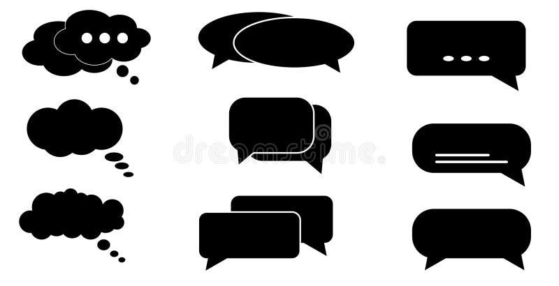 Ícone da caixa de diálogo, bolhas dos desenhos animados do bate-papo Nuvem de pensamento ilustração do vetor