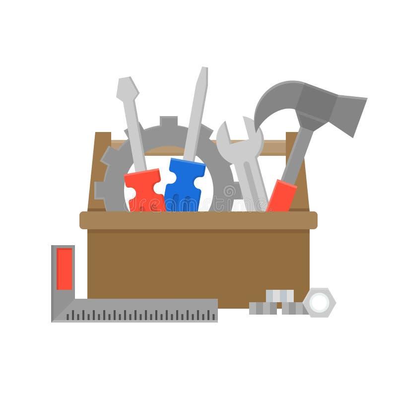 Ícone da caixa de ferramentas e do equipamento, manutenção e serviço de reparações concentrados ilustração do vetor