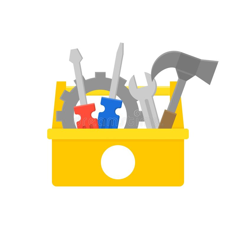Ícone da caixa de ferramentas e do equipamento, manutenção e serviço de reparações concentrados ilustração stock