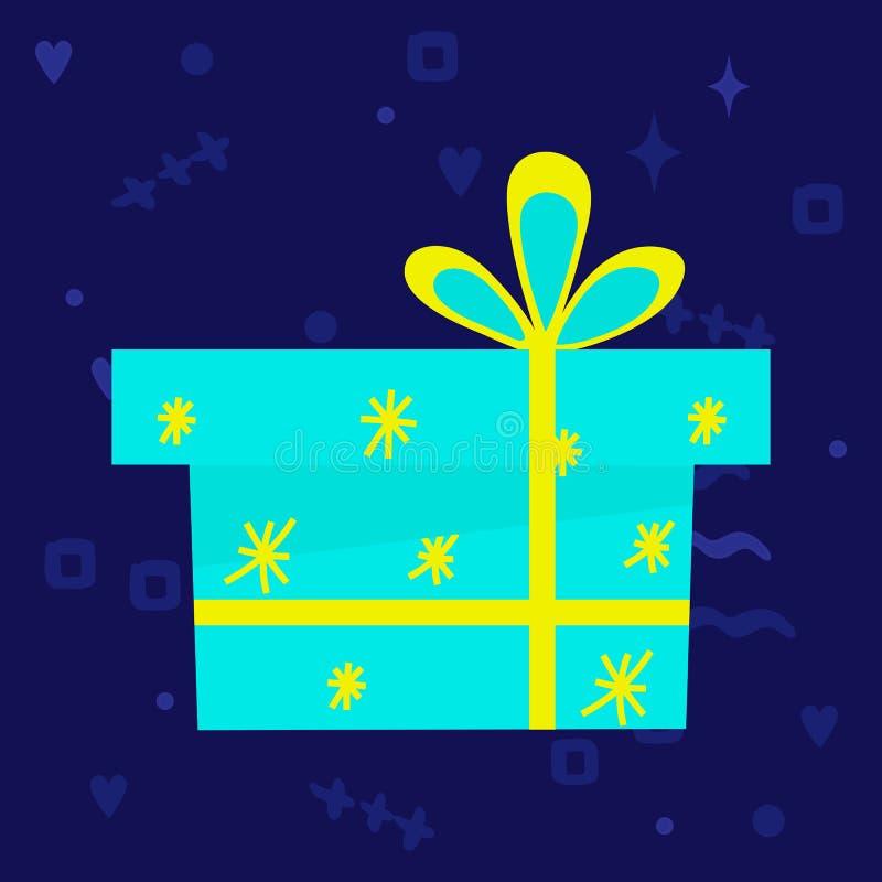 Ícone da caixa de presente Claro isolado - caixa azul no fundo escuro ilustração royalty free