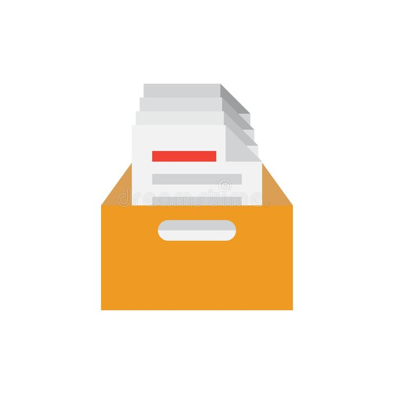 Ícone da caixa do arquivo dos arquivos Ilustração do vetor ilustração do vetor