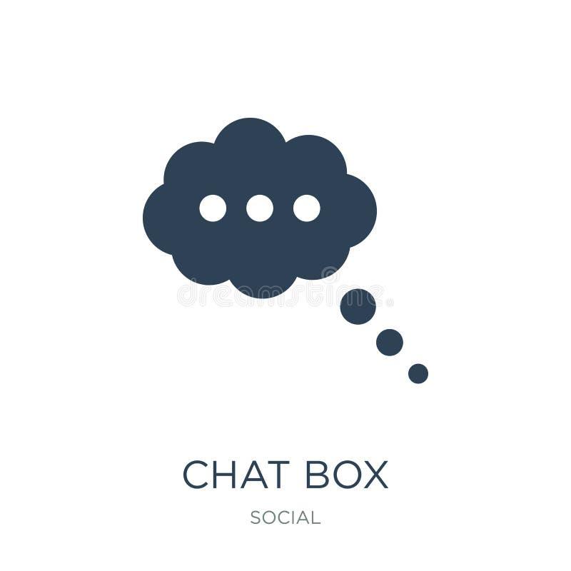 ícone da caixa do bate-papo no estilo na moda do projeto ícone da caixa do bate-papo isolado no fundo branco plano simples e mode ilustração do vetor