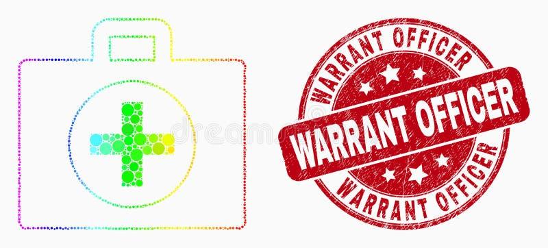 Ícone da caixa do pixel do espectro do vetor e oficial de autorização médicos Stamp do Grunge ilustração do vetor