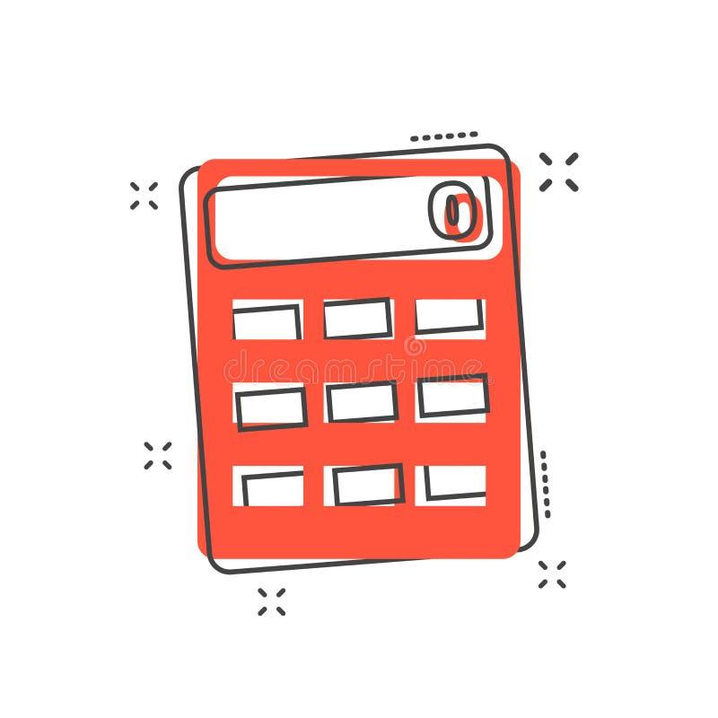 Ícone da calculadora dos desenhos animados no estilo cômico Calcule a ilustração p ilustração stock