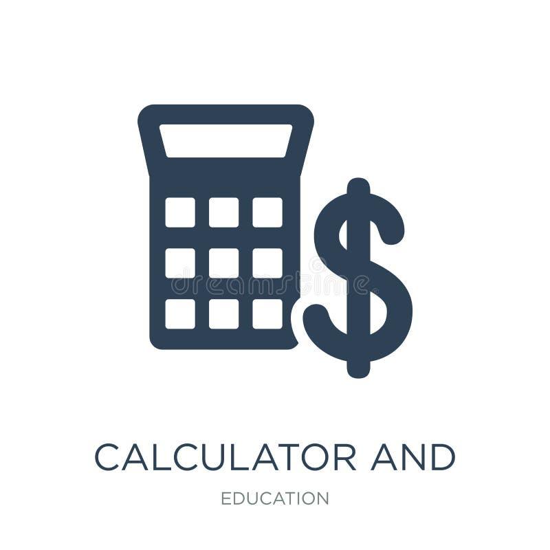 ícone da calculadora e do dólar no estilo na moda do projeto ícone da calculadora e do dólar isolado no fundo branco Calculadora  ilustração do vetor