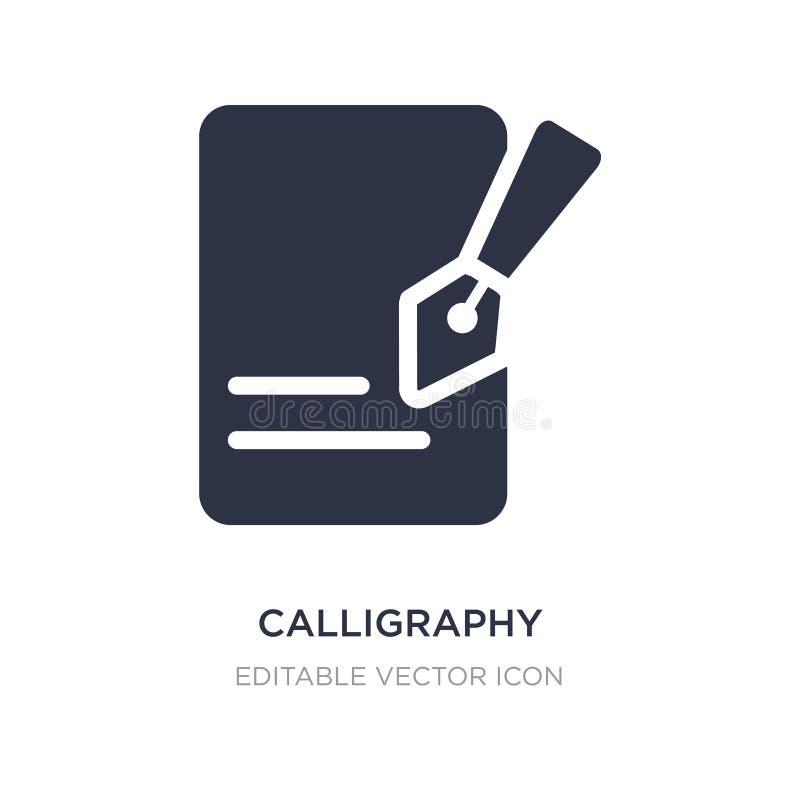 ícone da caligrafia no fundo branco Ilustração simples do elemento do conceito da educação ilustração stock