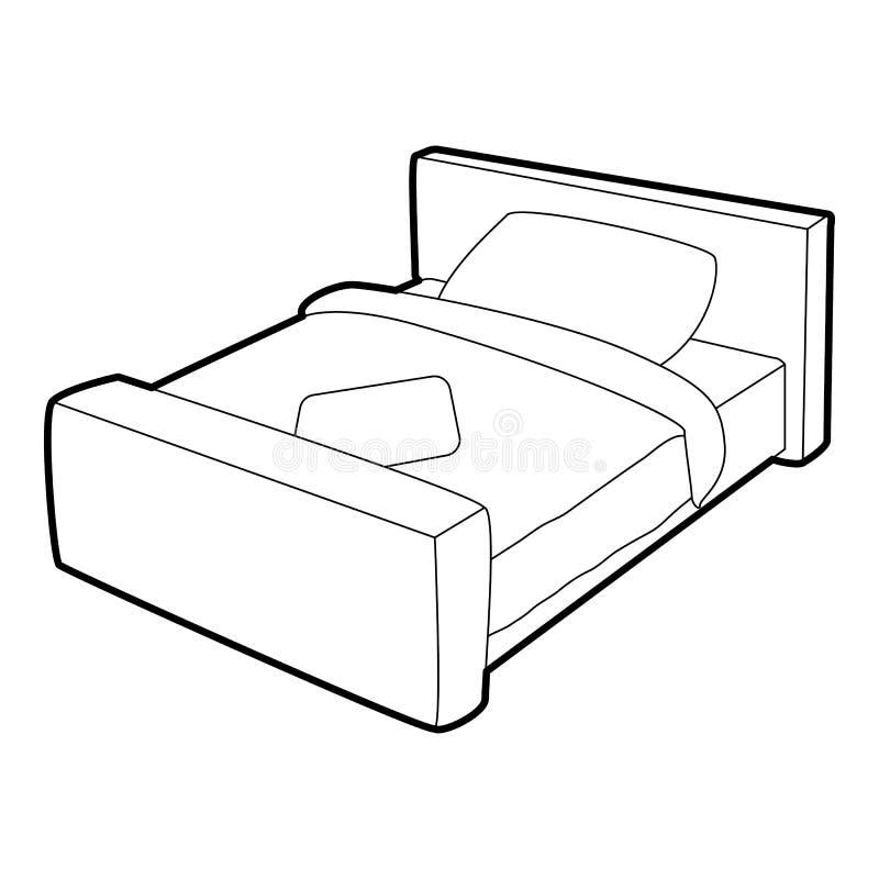 Ícone da cama de casal, estilo 3d isométrico ilustração stock