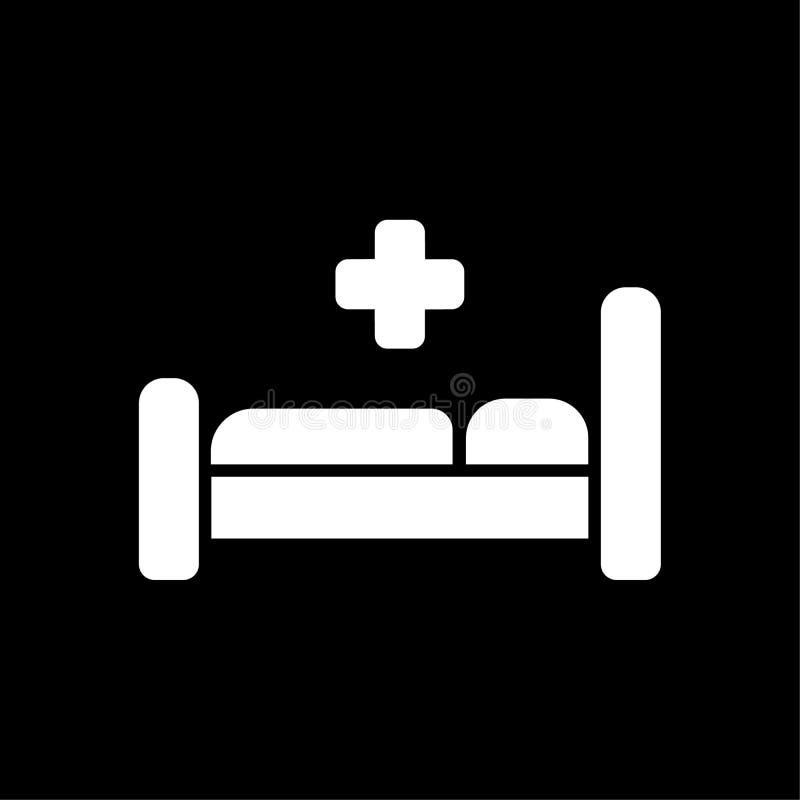 Ícone da cama de hospital Símbolo da medicina Ilustração lisa do vetor ilustração stock