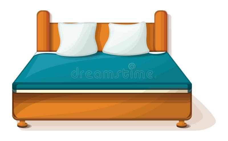 Ícone da cama enorme, estilo dos desenhos animados ilustração do vetor