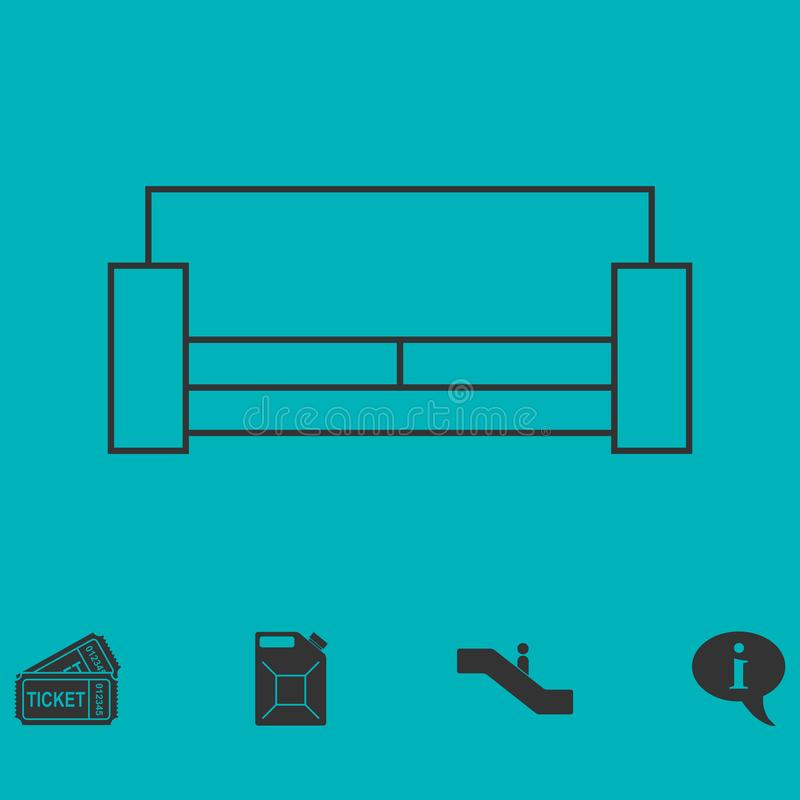 Ícone da cama liso ilustração stock