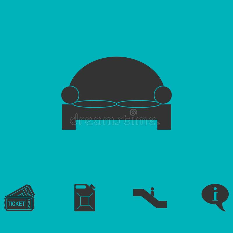 Ícone da cama liso ilustração royalty free