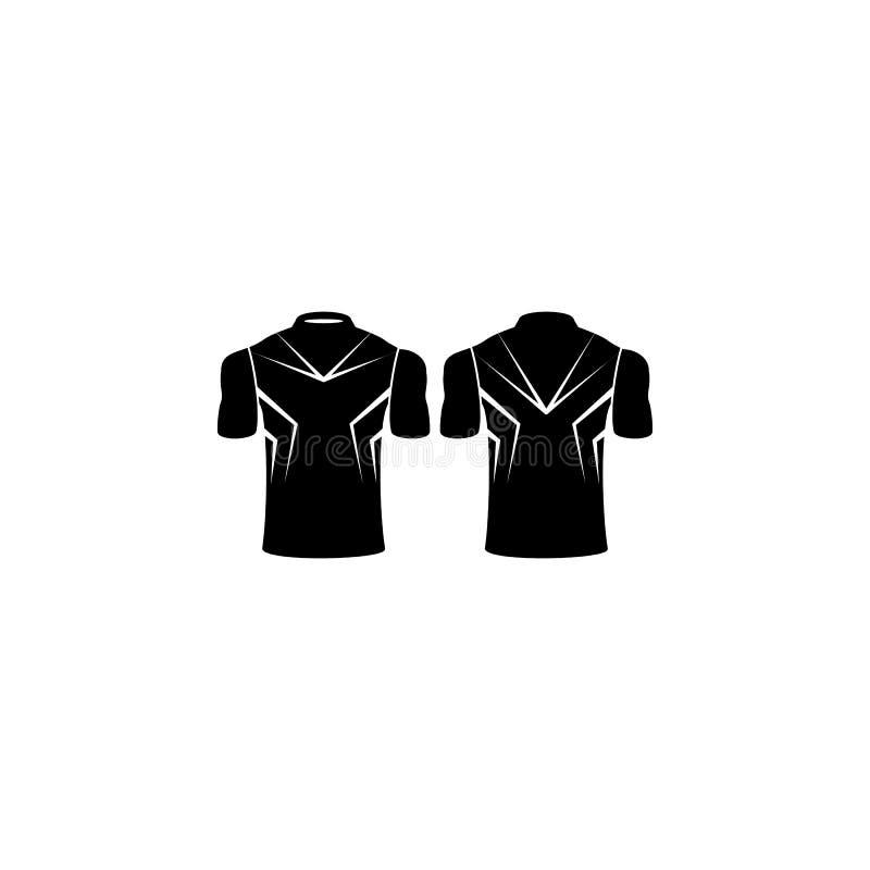 ícone da camisa de esportes Elemento da ilustração traseira e dianteira da opinião da camisa Ícone superior do projeto gráfico da ilustração stock