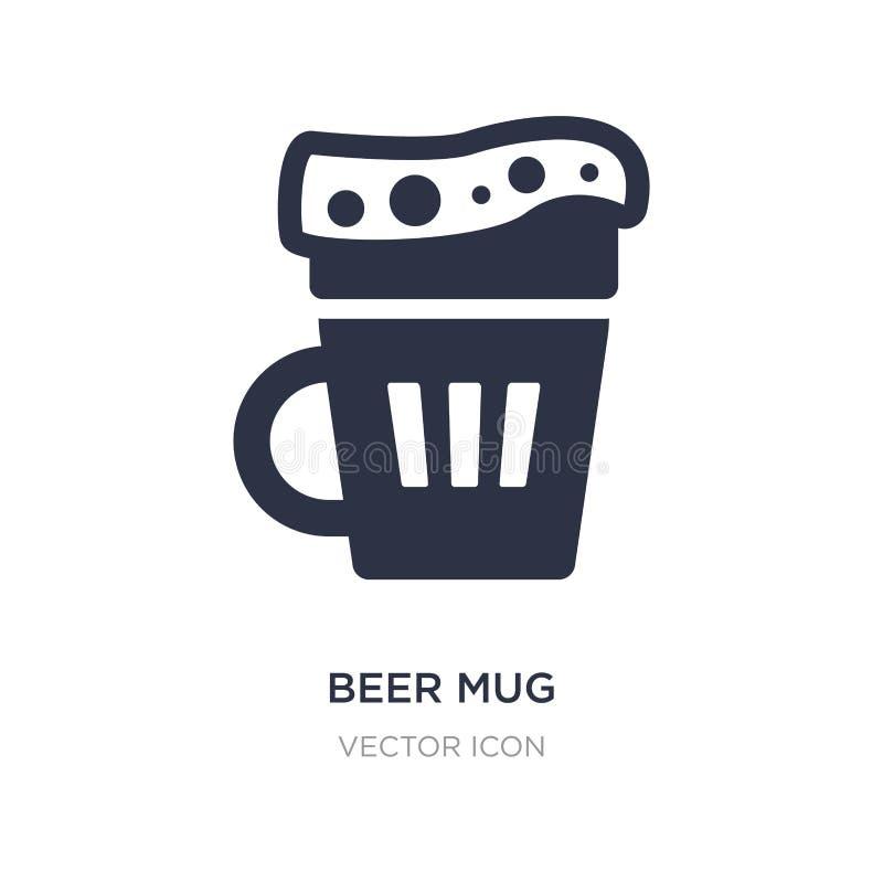 ícone da caneca de cerveja no fundo branco Ilustração simples do elemento do conceito das bebidas ilustração royalty free