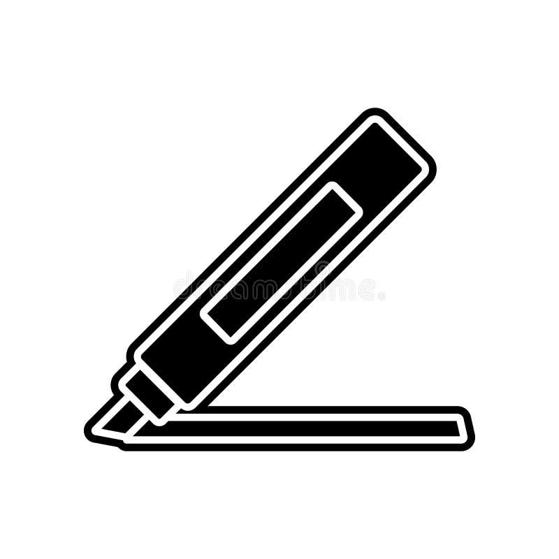 ícone da caneta com ponta de feltro Elemento da educação para o conceito e o ícone móveis dos apps da Web Glyph, ícone liso para  ilustração stock