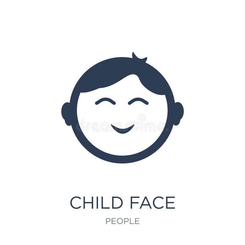 Ícone da cara da criança Ícone liso na moda da cara da criança do vetor no CCB branco ilustração stock