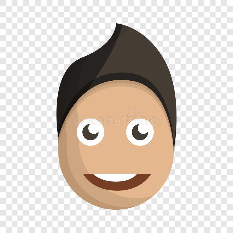 Ícone da cara do menino da forma, estilo dos desenhos animados ilustração royalty free