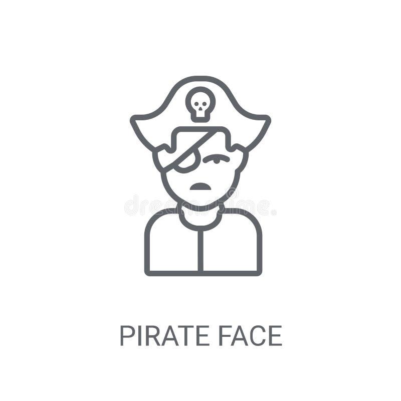 Ícone da cara do pirata Conceito na moda do logotipo da cara do pirata no backg branco ilustração stock