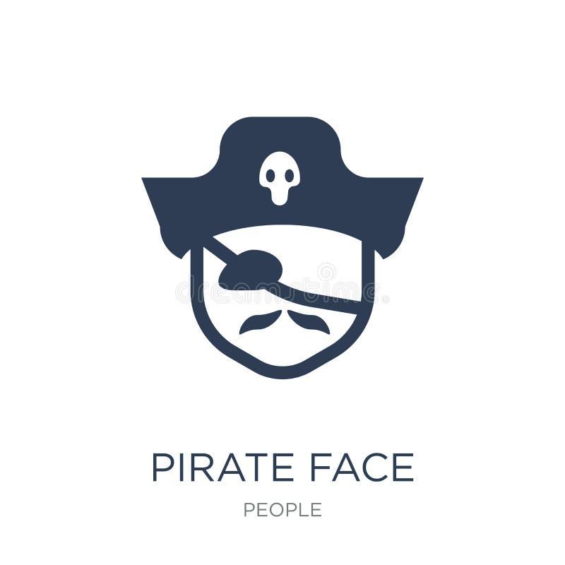 Ícone da cara do pirata Ícone liso na moda da cara do pirata do vetor em b branco ilustração do vetor