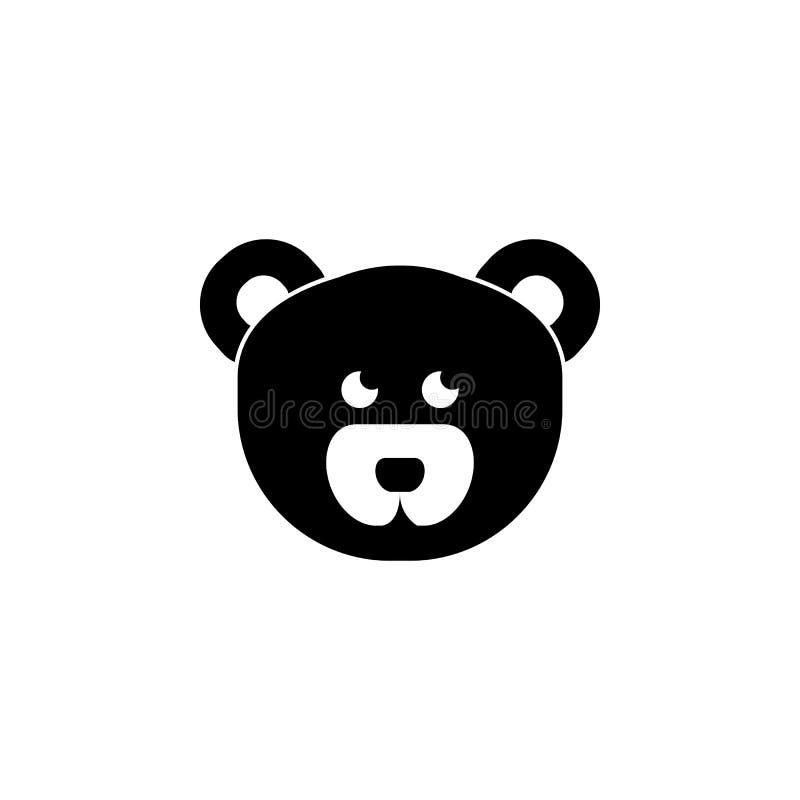Ícone da cara do urso de peluche Ícone do elemento do bebê Ícone superior do projeto gráfico da qualidade Sinais, ícone da coleçã ilustração do vetor