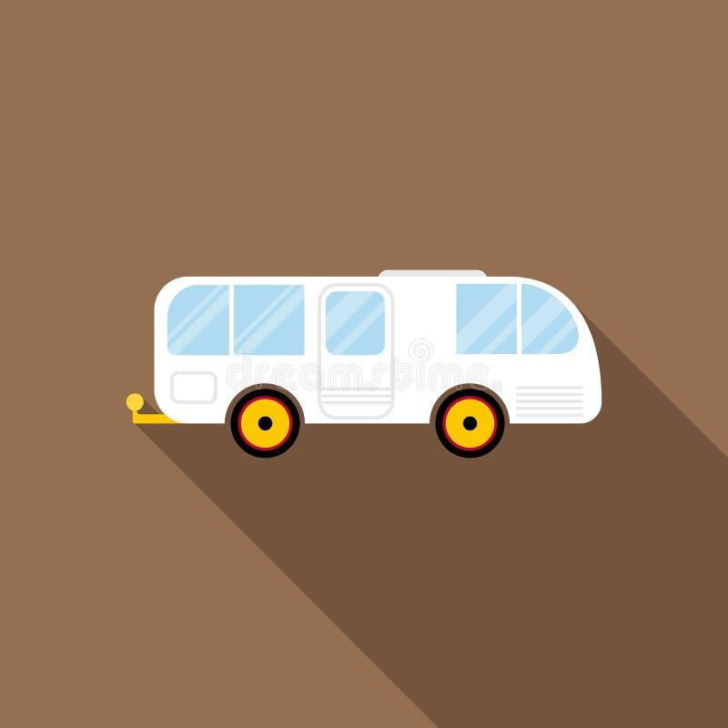 Ícone da caravana do reboque do carro no estilo liso ilustração royalty free