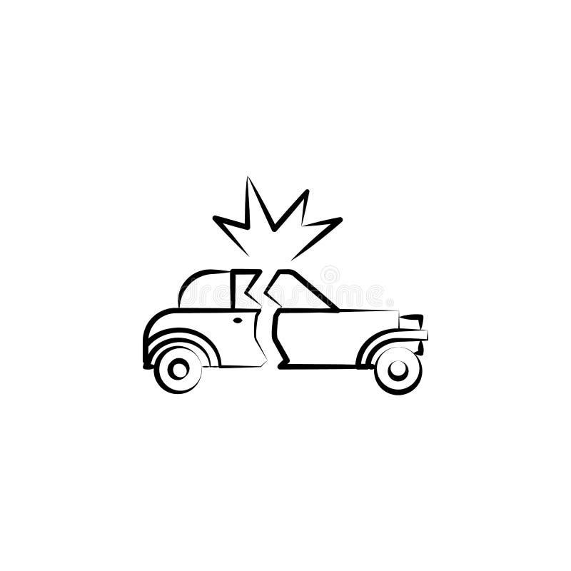 ícone da carro-bomba Elemento do ícone do crime para apps móveis do conceito e da Web O ícone tirado mão da carro-bomba pode ser  ilustração royalty free