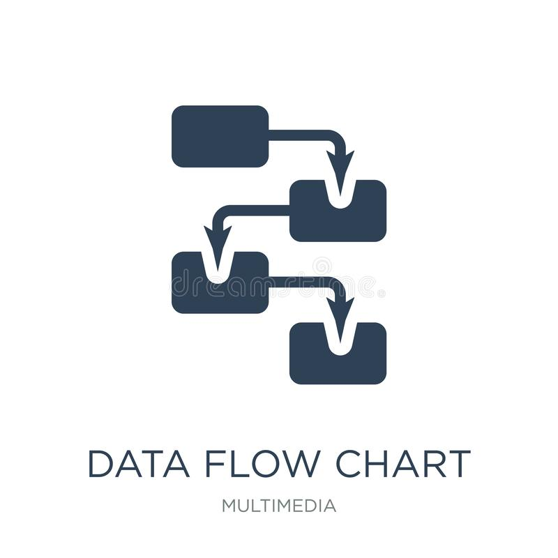 ícone da carta de fluxo de dados no estilo na moda do projeto ícone da carta de fluxo de dados isolado no fundo branco ícone do v ilustração do vetor