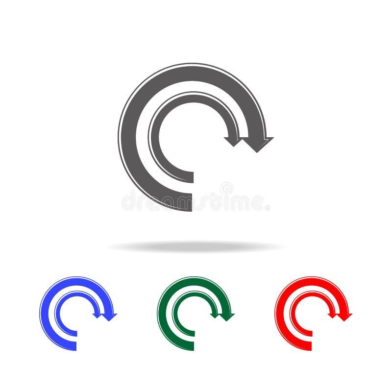 Ícone da carta de torta da seta Os elementos da carta e da tendência diagram multi ícones coloridos Ícone superior do projeto grá ilustração royalty free