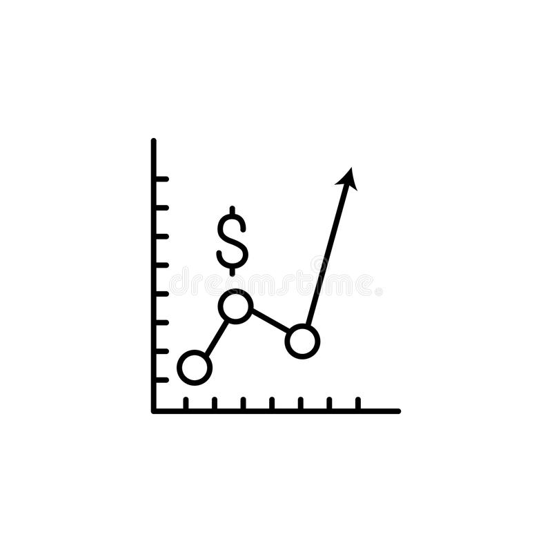 Ícone da carta do dólar Elemento do ícone popular da finança Projeto gráfico da qualidade superior Sinais, ícone da coleção dos s ilustração do vetor