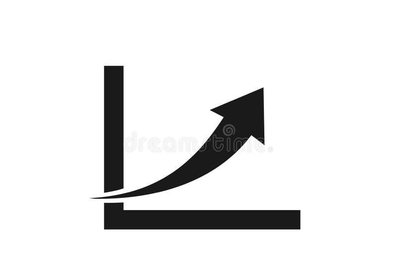 Ícone da carta da seta da tendência do crescimento seta crescente do conceito ilustração royalty free