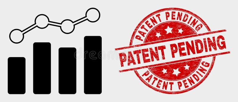 Ícone da carta da tendência do vetor e patente do Grunge durante a filigrana ilustração royalty free
