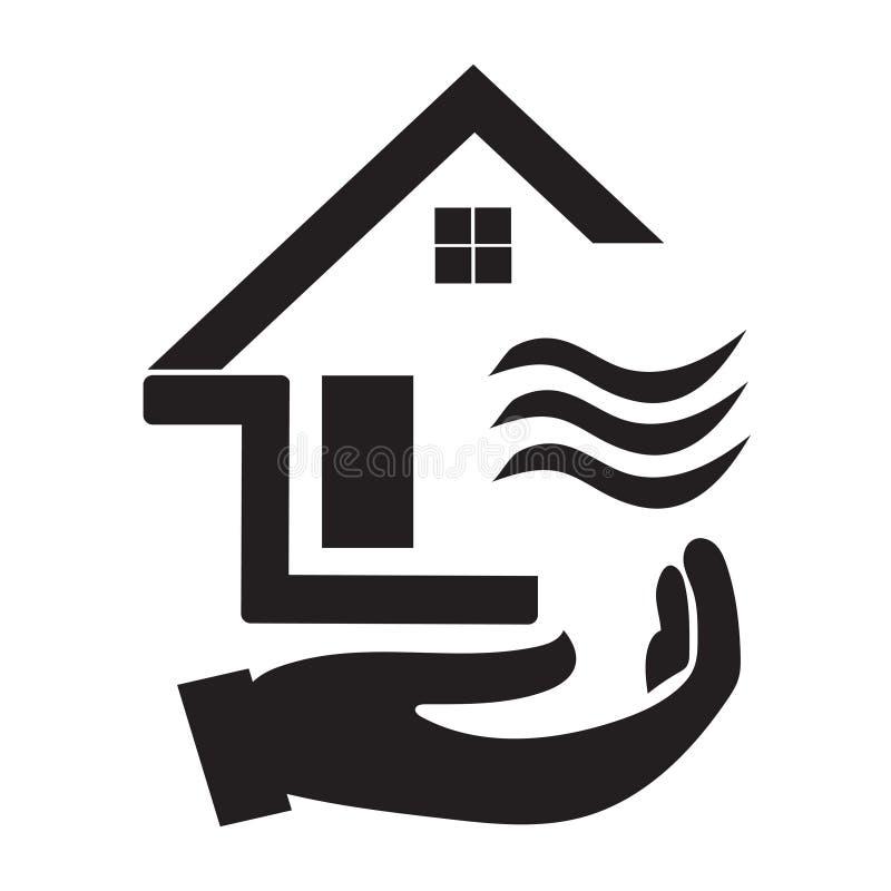 Ícone da casa com preto e branco e uma imagem da mão abaixo dela ilustração do vetor