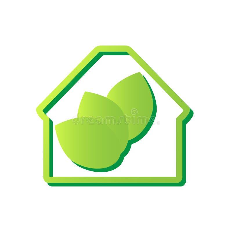 Ícone da casa de Eco Casa com folhas verdes para dentro Conceito da ecologia Ilustração do vetor ilustração do vetor