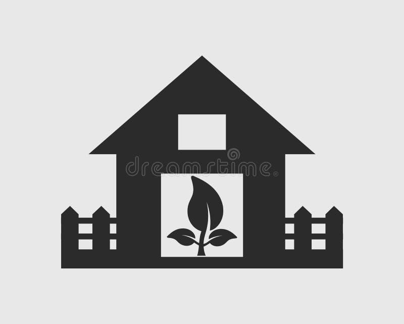 Ícone da casa de Eco Símbolo da folha ilustração do vetor