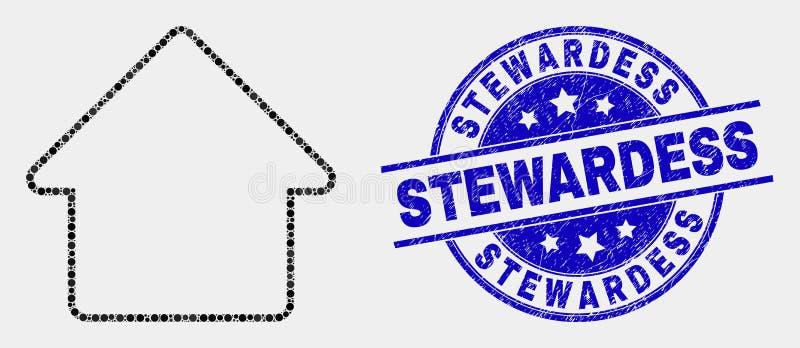 Ícone da casa de Pixelated do vetor e comissária de bordo riscada Watermark ilustração stock