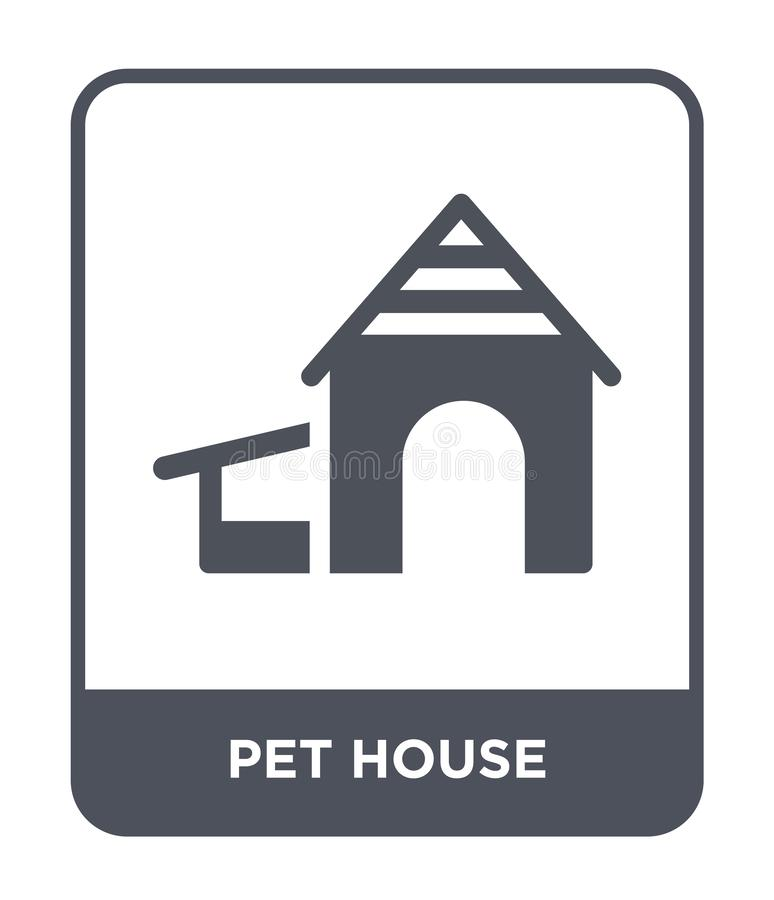 ícone da casa do animal de estimação no estilo na moda do projeto ícone da casa do animal de estimação isolado no fundo branco pl ilustração do vetor