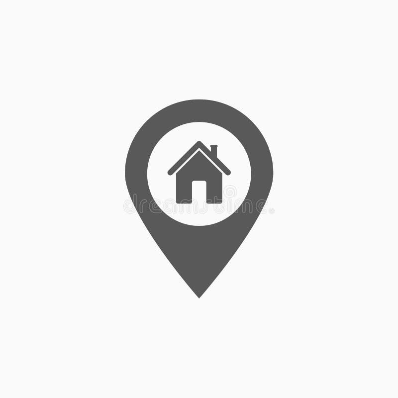 Ícone da casa do Pin, mapa, GPS, lugar ilustração do vetor
