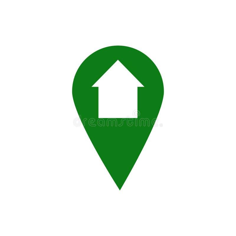 Ícone da casa do ponteiro do mapa ilustração royalty free