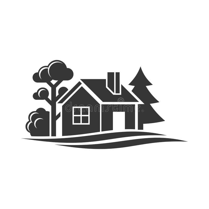 Ícone da casa e das árvores para o logotipo no fundo branco Vetor ilustração do vetor
