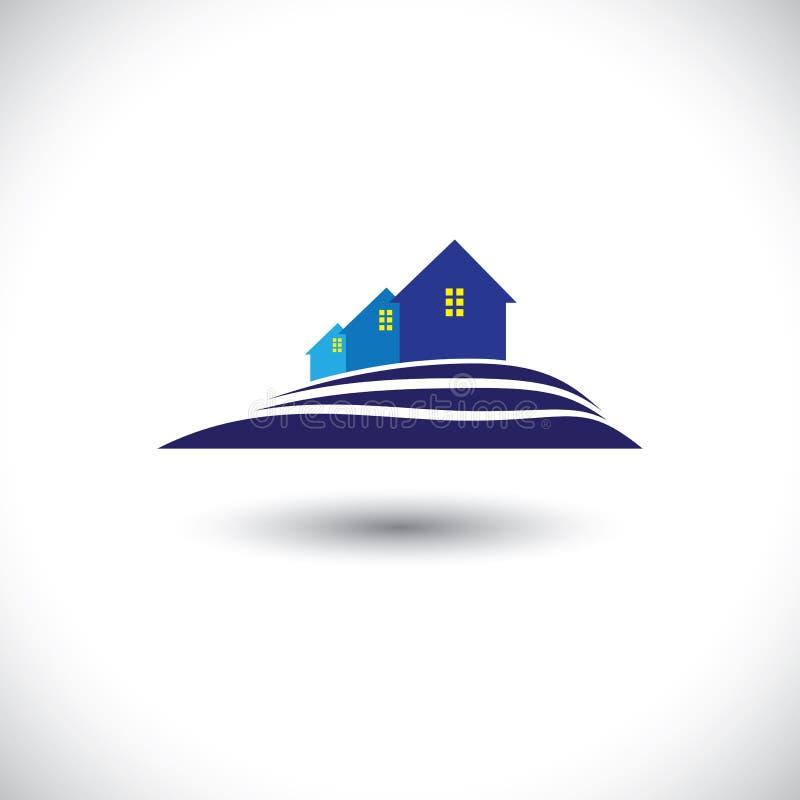 Ícone da casa (home) & da residência para a indústria de bens imobiliários ilustração stock