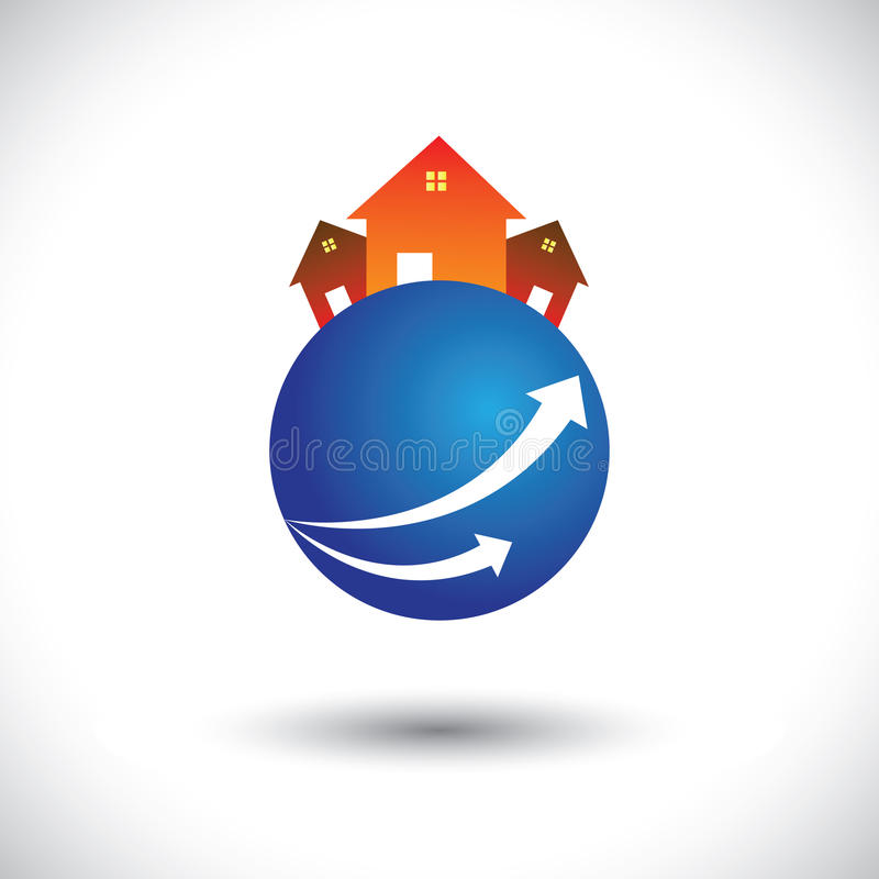 Ícone da casa (home) ou da residência em um planeta ilustração do vetor