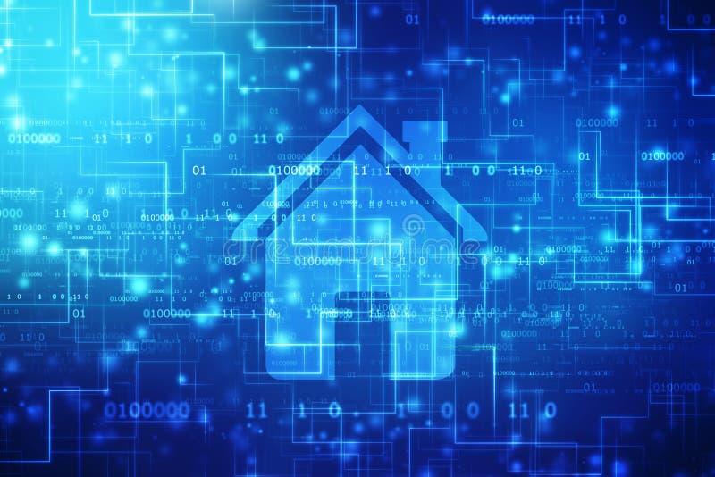 Ícone da casa no fundo digital, fundo do conceito do Smart Home ilustração royalty free